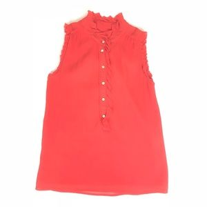 J. Crew Silk Coral Red size 0 Sleeveless Blouse